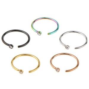 5 paquete de pares de colores surtidos pequeño lazo de acero inoxidable cristal en forma de C nariz oreja anillos cuerpo Piercing joyería