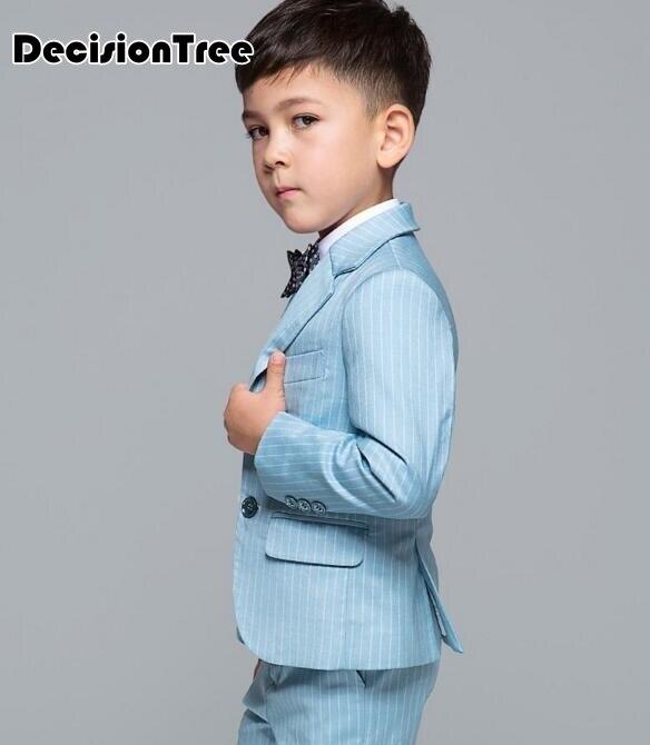 2019 nuevos niños abrigos conjuntos con corbata de moño chico traje de chaleco  para bodas formal de baile de graduación de luz azul trajes de cumpleaños  ... 00b2005e021