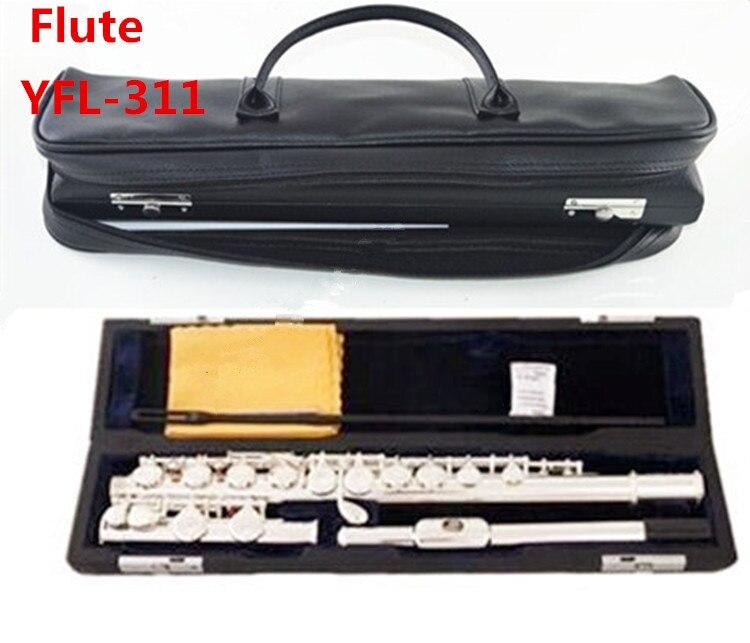 Livraison gratuite de haute qualité flûte japonaise FL-311SL instrument de musique flûte 16 sur C Tune e-key flûte musique et étui en cuir