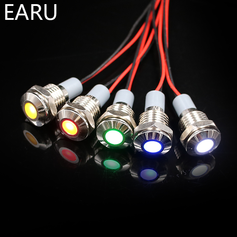 14mm IP67 Waterproof LED Metal Warning Indicator Light Pilot Signal Lamp + Wire 3V 5V 6V 12V 24V 110V 220v Red Yellow Blue Green