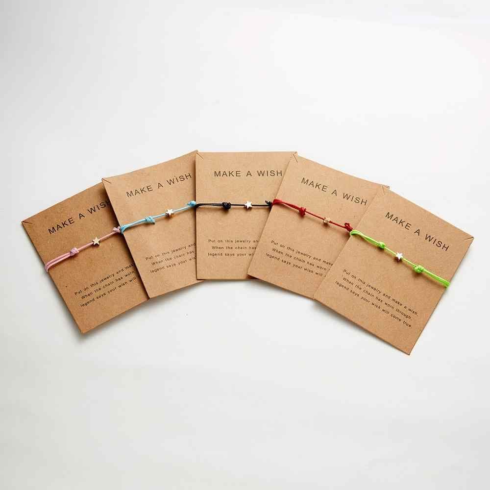 Carte de souhait réglable tissé à la main corde Bracelet Femme minimaliste coeur couronne ronde chaîne Bracelet ehthique mode femmes bijoux