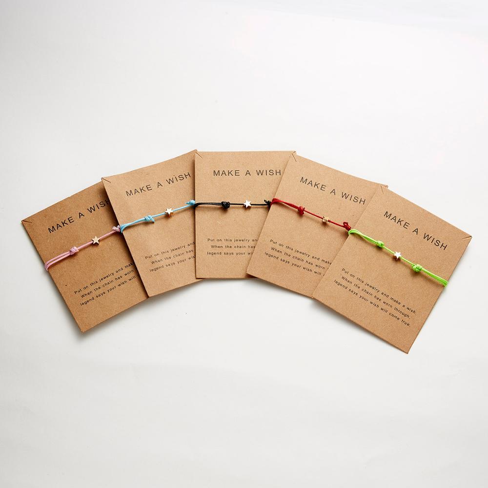Wish Card Adjustable Hand woven Rope Bracelet Femme Minimalist Heart Crown Round String Ehthic Bracelet Fashion