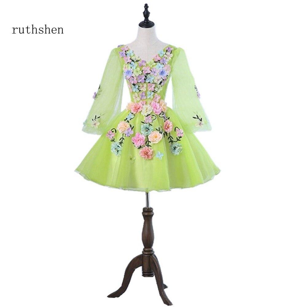 Ruthshen Сексуальная V шеи платья для выпускного вечера с одежда с длинным рукавом зеленый желтый вечернее платье для торжественных случаев кок...