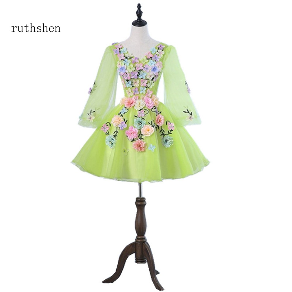 ruthshen Sexy V Neck Prom Dresses With Long Sleeves Green Yellow Evening Dress For Special Occasions Cocktail Party Gowns 2018