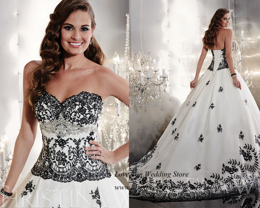 Fancy Brand White and Black Wedding Dresses 2015 Lace Bridal Gowns Ball Gown Corset back Sweep