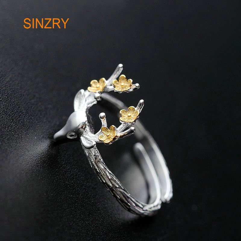 Sinzry 100% Silver ethtic finger ringshandmade lady siba deer 925 Sterling Silver adjustable rings For women jewelry gift