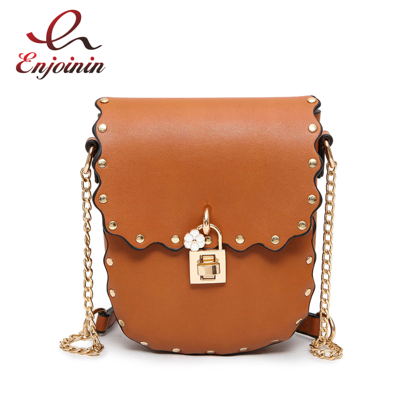 Casual fashion flower lock rivet chain saddle bag ladies shoulder bag handbag pu leather female purse crossbody messenger bag  fashion design bee metal pearl pu leather chain ladies shoulder bag handbag flap purse female crossbody messenger bag 5 colors