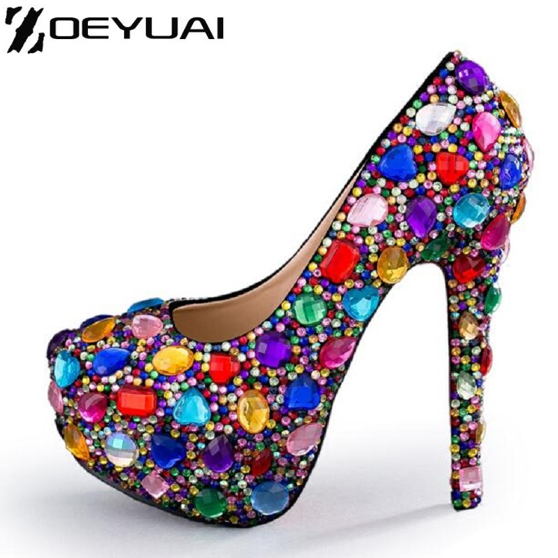 ФОТО Rhinestone Women Shoes Pumps Handmade Female Noble Diamond Wedding Shoes Sexy Fashion Women's High Heels 11 cm 14 cm Dress Shoes