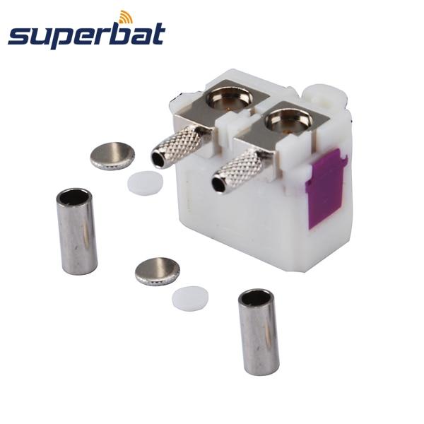 """imágenes para Superbat RF Coaxial Conector Fakra código Doble """"B"""" cable Jack hembra de Ángulo Recto Crimp RG174 RG316 LMR100 para Radio Con Phantom"""