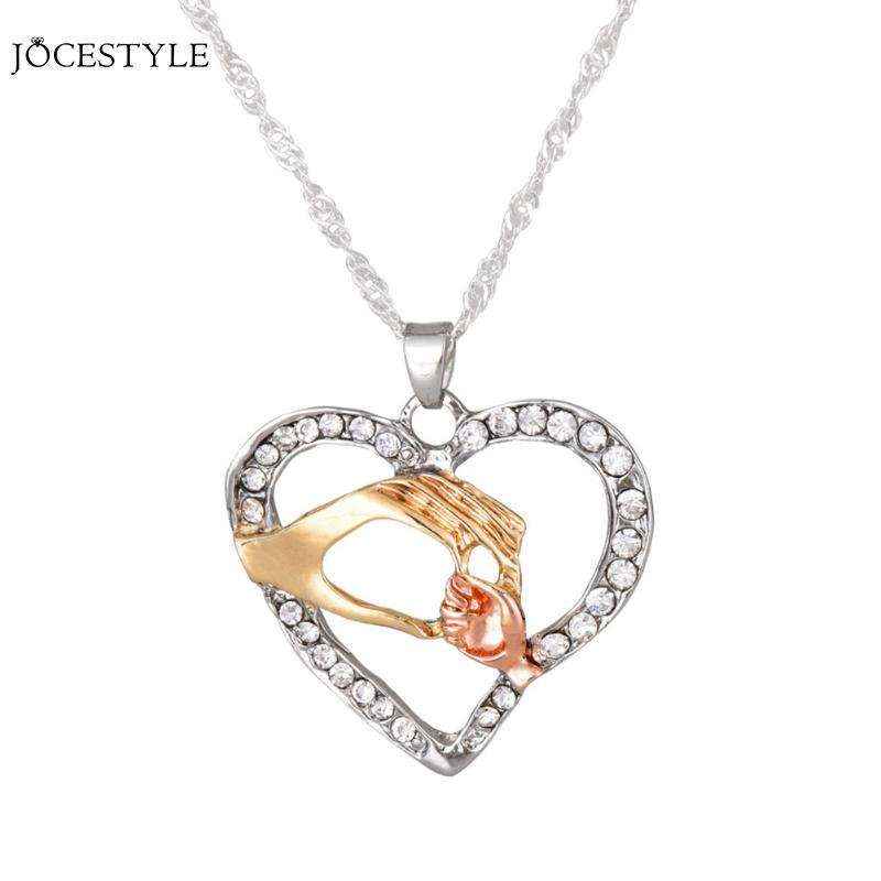 Necklace for Volunteers Girls Women Small Hand Hold Big Hand Three Color Love Heart Necklace for Women Necklace Jewelry New