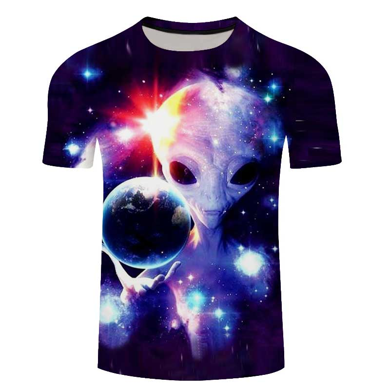 2018 New Men 3D Tshirt Space Blue Star See 3D Print Summer Tees Tops Shortsleeve Fashion Casual Plus Size 6XL