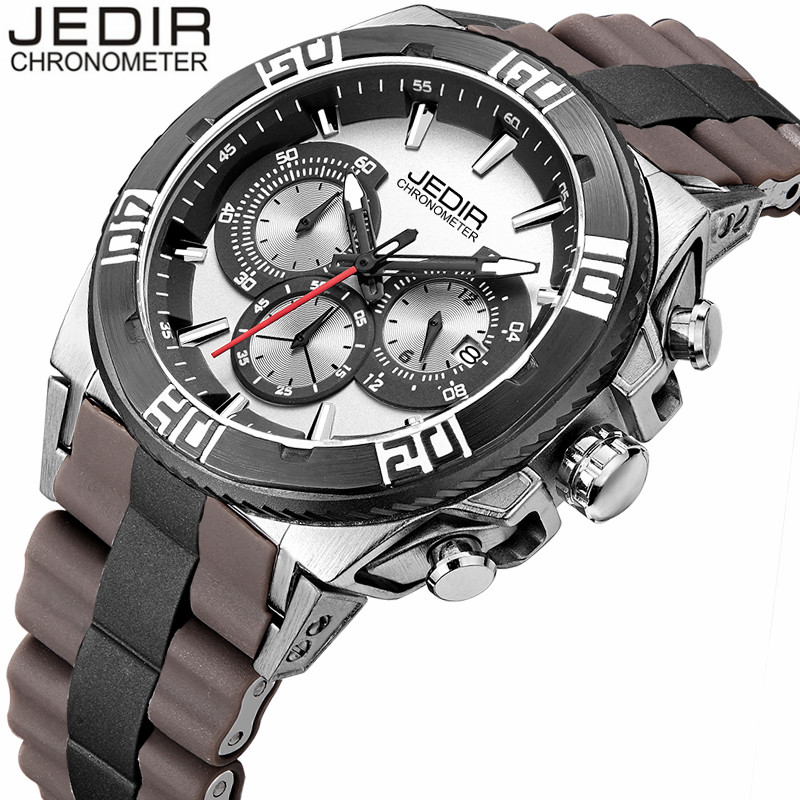 relogio masculino 2017 JEDIR Military Sports Watches Men Luxury Brand Rubber Quartz Watch Chronograph Luminous Analog Wristwatch mens watches top brand luxury jedir quartz watch chronograph luminous clock men military sport wristwatch relogio masculino