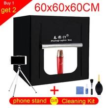 CY 60*60 cm LED Foto Studio licht tent Tafelblad Schieten SoftBox lightbox + Draagbare Tas + dimmer AC adapter voor Sieraden Speelgoed