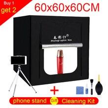 CY 60*60 cm LED Fotoğraf stüdyo ışığı çadır Masa Üstü Çekim SoftBox lightbox + Taşınabilir Çanta + Dimmer anahtarı AC adaptörü Takı Oyuncaklar
