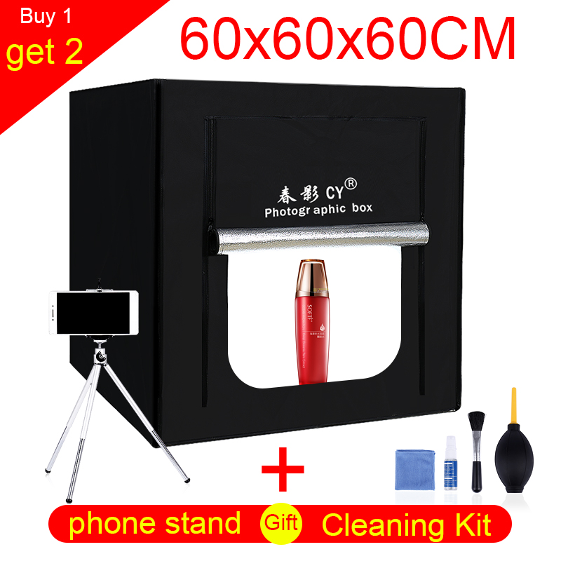 CY 60*60 cm LED Photo Studio lumière tente De Table Tir SoftBox lightbox + Portable Sac + gradateur AC adaptateur pour les Bijoux Jouets