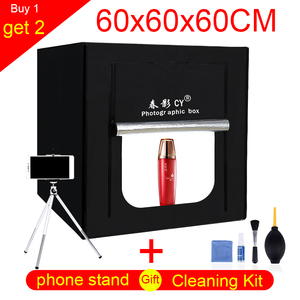 Image 1 - CY 60*60cm LED Photo Studio light tent Tabletop Shooting SoftBox lightbox+Portable Bag+Dimmer switch AC adapter for Jewelry Toys