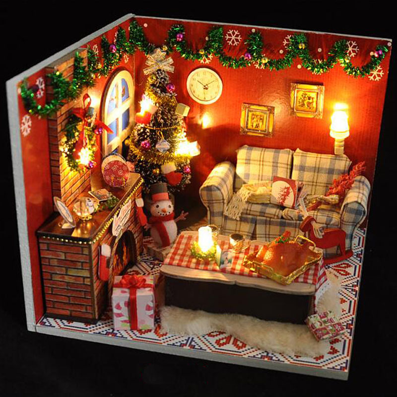 wooden dollhouse furniture kits led light miniature christmas room diy dolls house puzzle toy xmas gift in figurines miniatures from home garden on