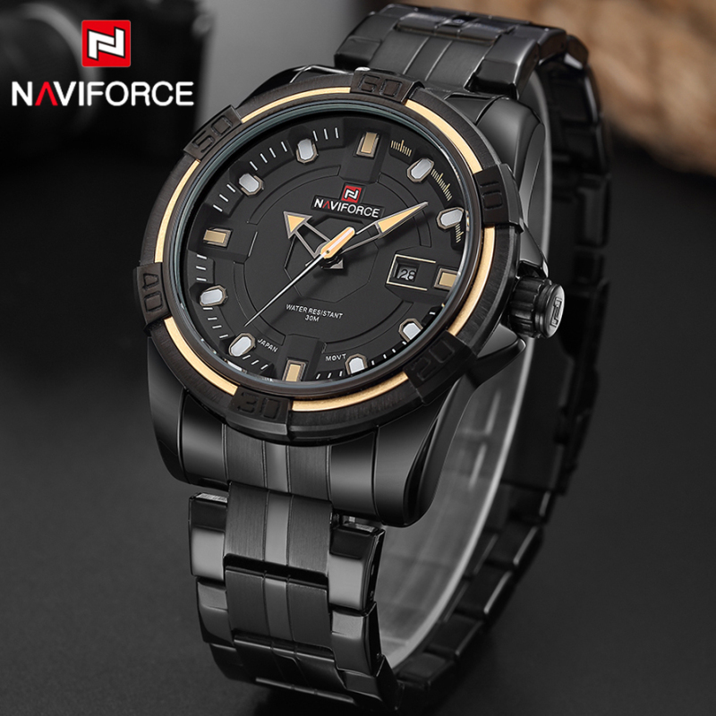 NAVIFORCE Men Luxury Brand Full Steel Army Military Watches Men's Quartz Hour Clock Watch Sports Wrist Watch Relogio Masculino 2017 men watches luxury brand men s quartz hour analog digital led sports watch men army military wrist watch relogio masculino