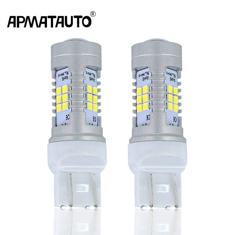 2X High Power 21W Samsung Chip LED 7443 T20 7444NA LED Bulbs For Turn Signal Lights, Tail Lights, Brake Lights, Brilliant Red