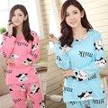 Gecelik Mujeres Soft Cómodo Ocasional Otoño ropa de Dormir Conjunto de Dibujos Animados Homewear Pijamas Leisurewear
