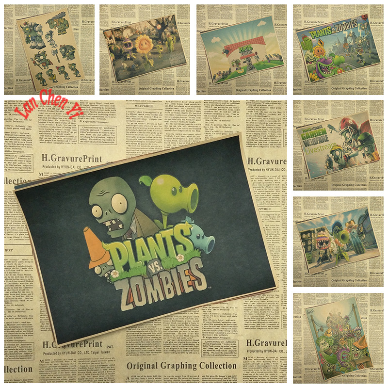 Plants vs. Zombies Classic Game Kraft Paper Poster Bar Cafe Living Dining Kids Room Decorative Paintings