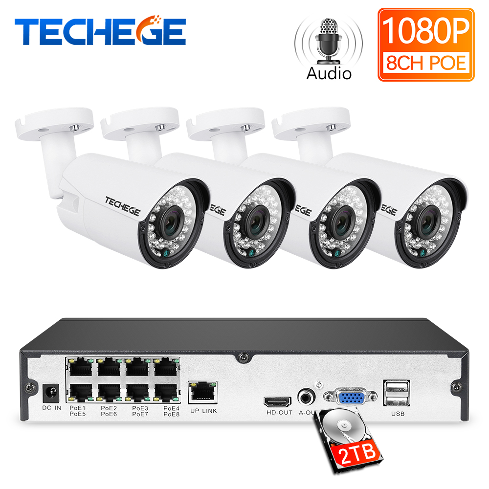 Techege 8CH 1080P POE NVR-kit 2MP 3000TVL PoE IP-camera P2P Audio CCTV-systeem IR Outdoor Nachtzicht Videobewakingsset