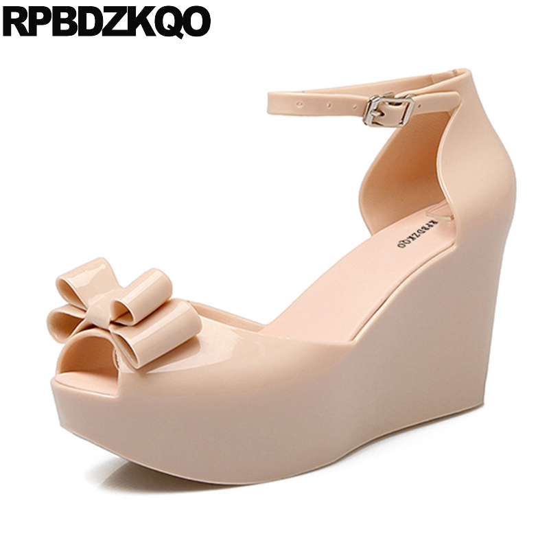 Beautiful Platform Comfortable Cheap Shoes China Thick Sole Ladies Bow Peep Toe Ankle Strap Pink Wedge Women Footwear Elevator