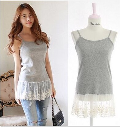 3 Colors Summer High Street Basic Clothing Female New Korean Style Spaghetti strap Lace Women Tops Cotton Sexy Camisole 9