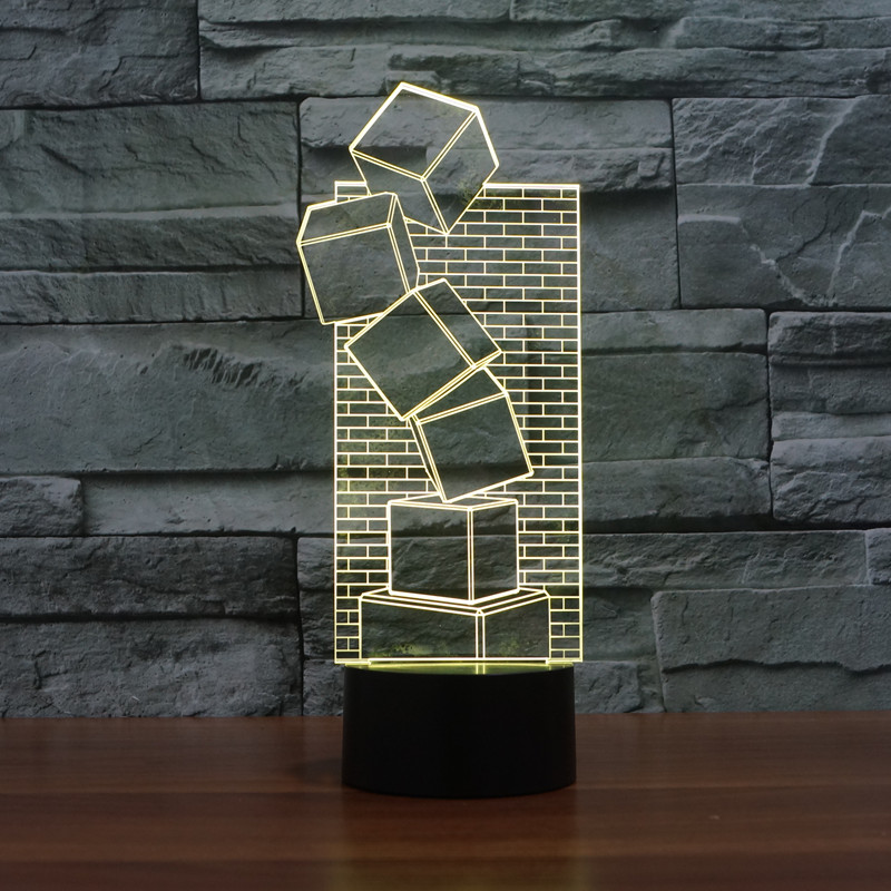 3D Illusion Colorful LED Table Lamp Touch Cool Style Night Light Christmas Prank Gifts Romantic Holiday Cute Creative Gadget