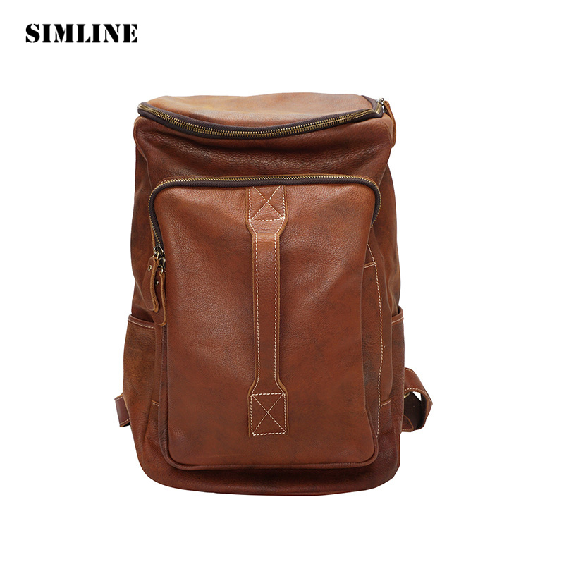 SIMLINE New Vintage Casual Genuine Leather Cowhide Men Mens Large Capacity Travel Backpack Shoulder Bag Bags Backpacks For Man men s genuine leather double shoulder backpacks real cowhide leather backpack for men brand bags man multi fuctional bag