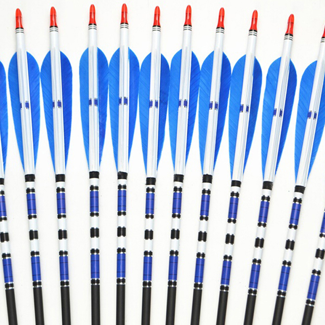 6/12/24pcs Real Turkey Feather Carbon Arrows with Length 31″  Spine 500 for Hunting Archery for Compound and Recurve Bow E