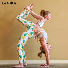 INWIKI Cute 3D Printed Smile Pineapple Yoga Pants Mom&Baby Parents and Baby Yoga Leggings Fruit Printed Fitness Tights Gymwear