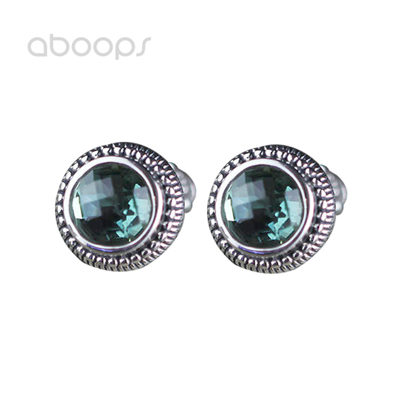 Boucles d'oreilles Vintage en argent Sterling 925 rondes en cristal vert pour femmes filles livraison gratuite