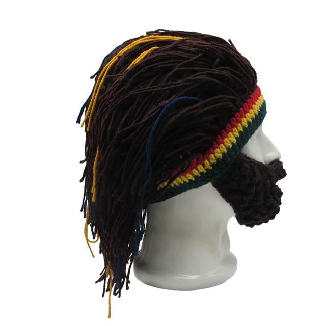 Online Shop Parrucca Barba Cappello Di Lana Rasta Beanie Caveman