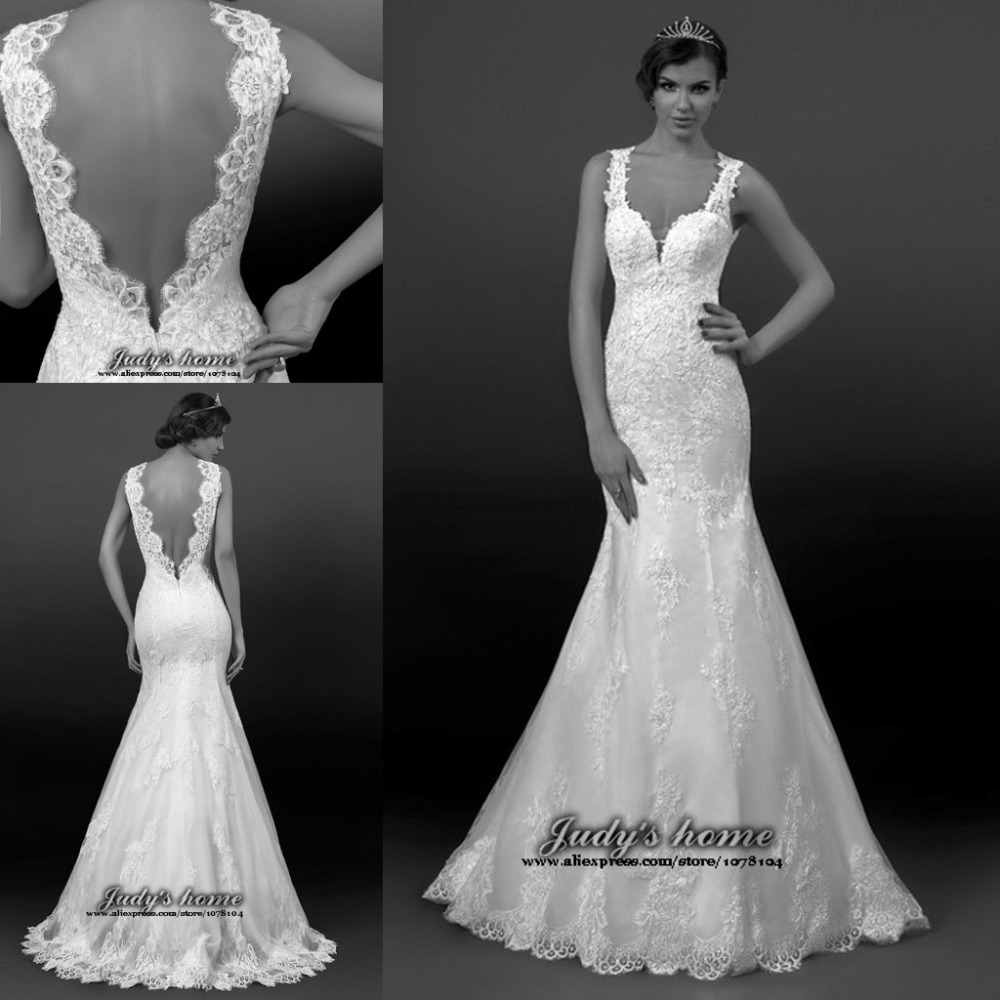 Low-Back Lace Mermaid Wedding Dresses