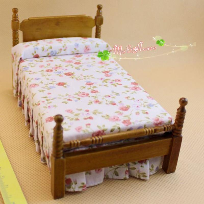aliexpress koop 1 12 houten poppenhuis miniatuur bed