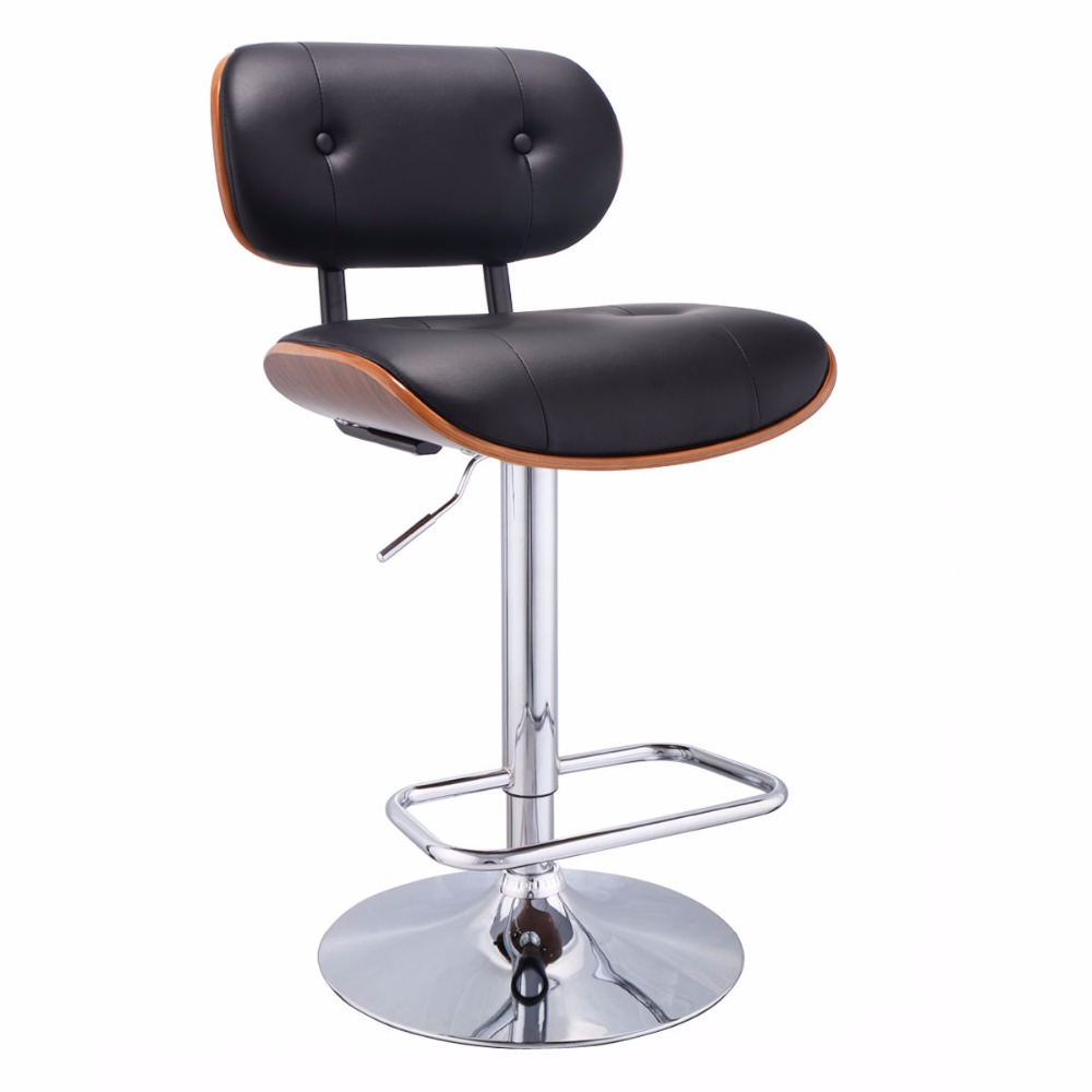 Goplus Adjustable Swivel Bentwood Bar Stool PU Leather Tufted Barstool Pub Chair High Qualiy Swivel Home Bar Chair HW53726 homall bar stool walnut bentwood adjustable height leather bar stools with black vinyl seat extremely comfy with seat back pad