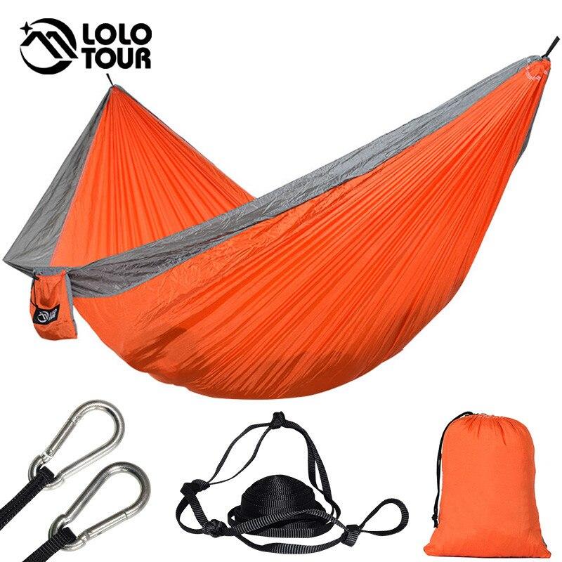 Portable 2 Personne Parachute Hamac Tente Double Jardin Hamaca Rede De Dormir Camping Hamac 300*175 cm Européenne Standard Hamak