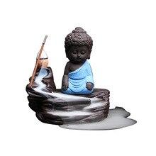 20Pcs Incense Cones + 1Pc Burner The Little Monk Small Buddha Censer Ceramic Waterfall Backflow Holder Home Decor