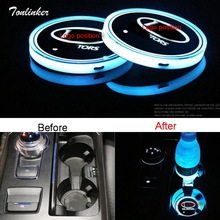 Tonlinker 2018 New Version 2 PCS Universal RGB 7 Colors LED Cup Holder Car Pad Water Drinks Decoration Lamp