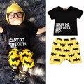 Venta caliente Batman Niños Recién Nacidos Del Bebé de La Muchacha Ocasional Carta de Manga Corta T-shirt Top + Pantalones Cortos de Algodón Outfit Ropa Set 0-2Y
