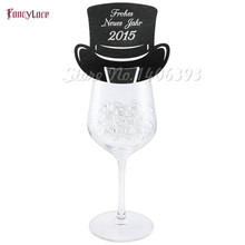 60pcs/lot magic hat Table Mark Name Paper Laser Cut Cards Wine Glass Place For Baby kids Birthday Wedding Party Decoration