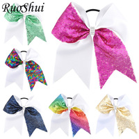 6pcs 7 Inch Grils Large Cheer Bow Rhinestone Grosgrain Ribbon Bow Sequins Ponytail With Elastic Band Women Girl Hair Accessories