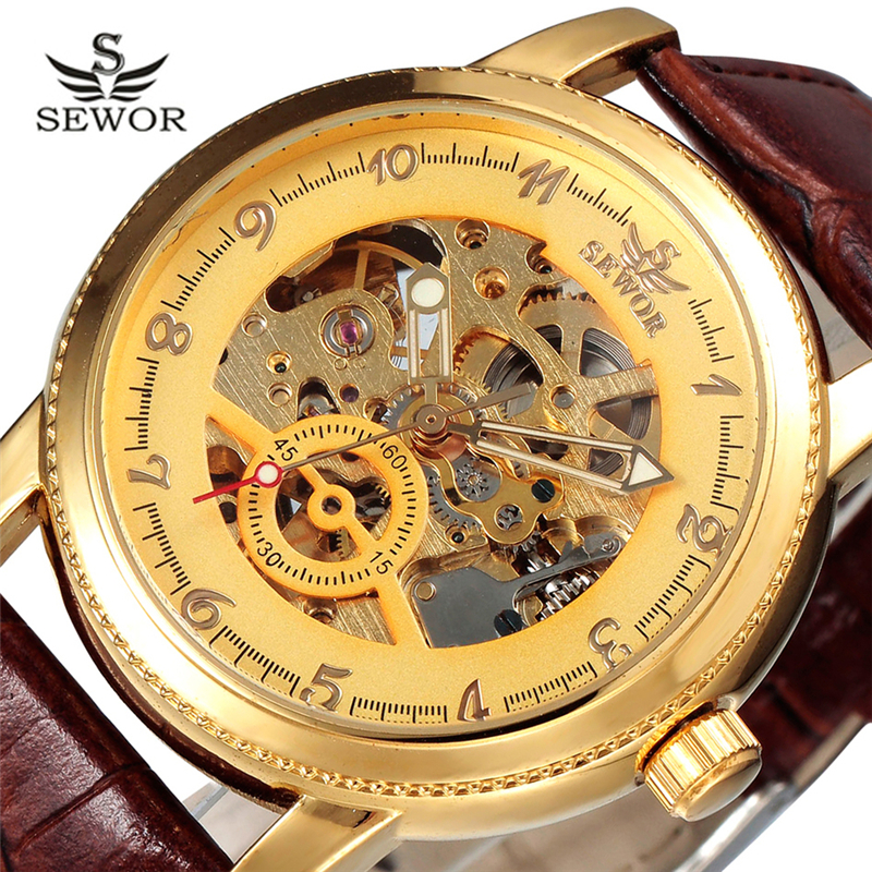 ФОТО Sewor Mechanical Watch Men Luxury Brand Skeleton Casual Designer 2016 Automatic Wristwatches Mechanical Watch With Box SWQ05