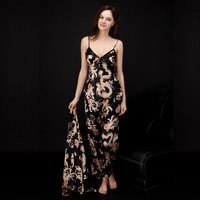 Women Pajama Sets Faux Silk Sexy Lady Home Sleepwears Pajamas Printed Pattern Strap V Sleep Shirts