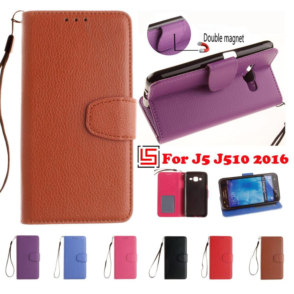 Fashion PU Leather Lether Flip Book Wallet Walet Phone Case shell Cover Cove For Samsung Galaxy J5 2016 J510 Brown Purple