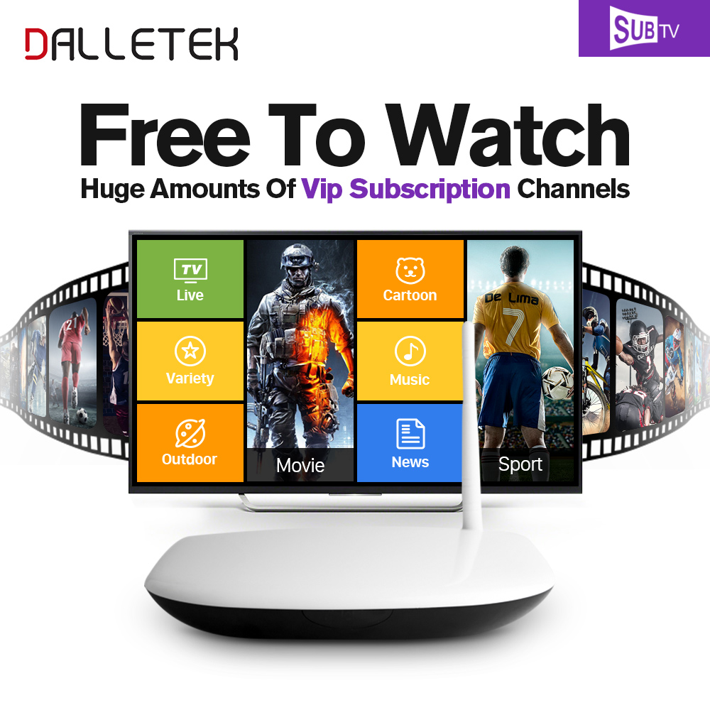 Dalletektv Smart HD IPTV Android tv Box Media Player Arabic French 3500+Live IPTV Europe Subscription 1 year Italy Set Top Box gotit cs918 android 4 4 tv box with 1year arabic royal iptv europe africa latino american iptv rk3128 media player smart tv box
