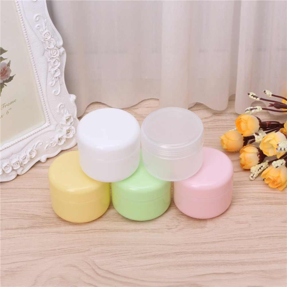 Frascos vacíos de plástico de viaje para cosméticos en 5 colores, Envase de bálsamo de labio de crema de maquillaje de 10g/20g/50g/100g