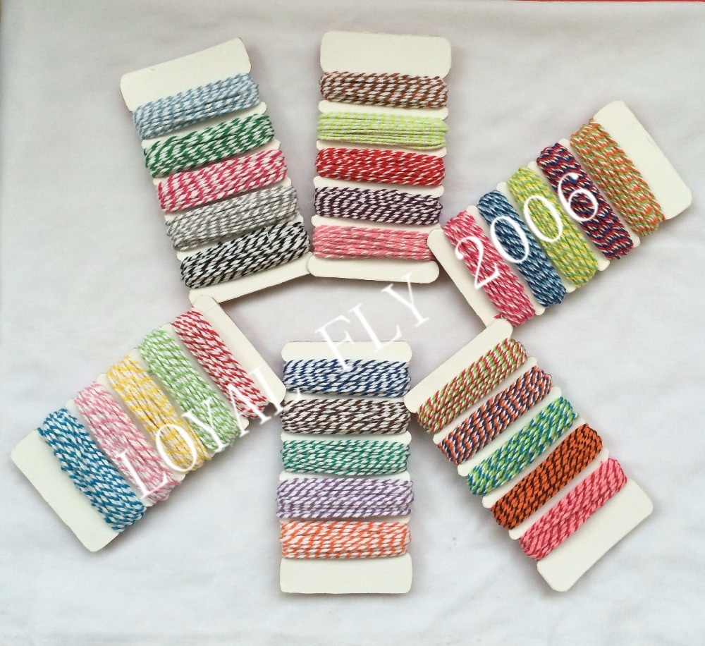 2cards/lot 30 mix Cotton twine,bakers Twine 12ply cotton rope, 5m*5m/card twisted twine rope used in gift,greeting card