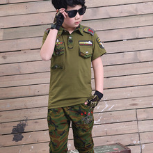 T-Shirt Suits Scout Militray Boys Shorts-Set Training-Clothes Thin Green Camouflage Summer